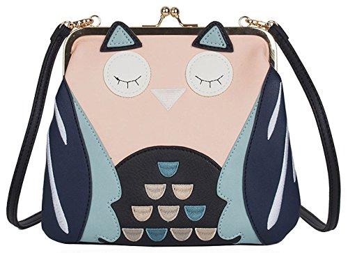 Kukubird 3D Sleeping Owl Face Faux Leather Crossbody Clutch Handbag - Black Sleeping Owl
