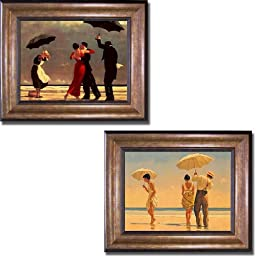 Singing Butler & Mad Dogs by Jack Vettriano 2-pc Premium Bronze-Gold Framed Canvas Set (Ready-to-Hang)