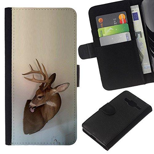 Antlers Beige Natura Primavera animale - Portafoglio in pelle della Carta di Credito fessure PU Holster Cover in pelle case Per Samsung Galaxy Core Prime