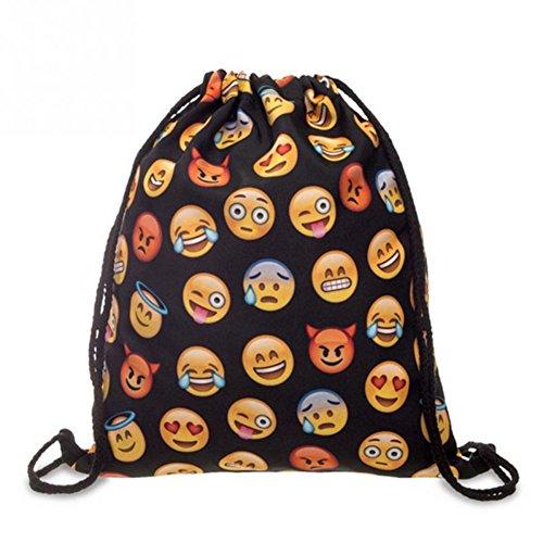 Cloud-Castle emoji Turnbeutel Zaino Sacca sportiva a tracolla per l'allenamento, viaggio borsa borsetta palestra zaino a spalla trend sport per uomini donne ragazzi ragazze bambini (Emoji Nero)