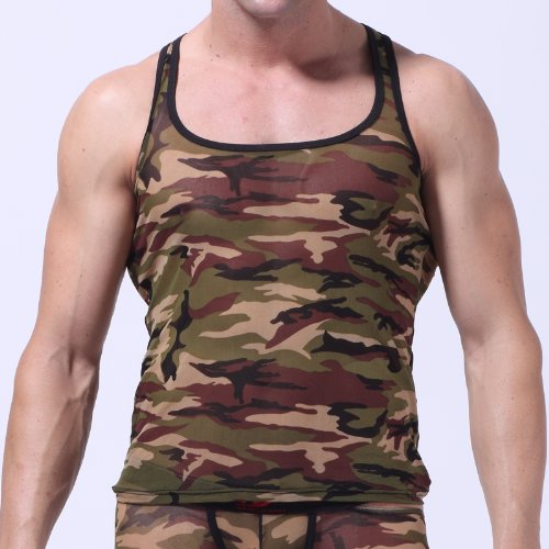 Yafex New Sexy Men's Army Camouflage Underwear Tank Top | Small - Camouflage Green
