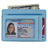 Slim Wallet RFID Front Pocket Wallet Minimalist Secure Thin Credit Card Holder (OneSize, Sky blue)
