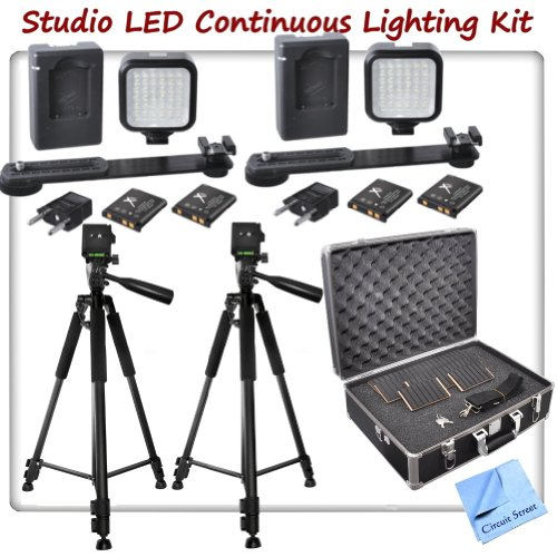 Studio Led Continuous Light Package: Includes 2 Mini Portable Led Light Kit With 4 Lithium Batteries, 2 Chargers & 2 Brackets, 2 Sturdy Aluminum Alloy Tripods With 3-Way Panhead Tilt Motion, Hard Case With Foam Interior & Cs Microfiber Cleaning Cloth