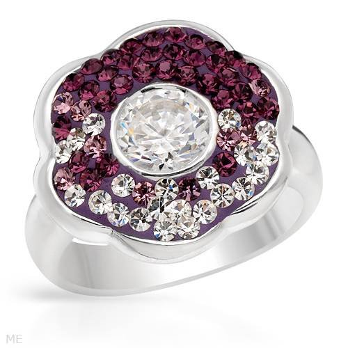 Ring With 1.25ctw Crystals and Cubic zirconia Made of Violet Enamel and 925 Sterling silver. Total item weight 8.3g (Size 6)