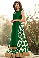 Spangel Fashion Navratri Special New Fancy Green And White Flower Print Indo Western Lehenga