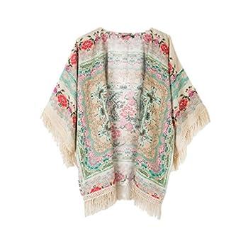 Persun Women Vintage Floral Fringe Kimono Cardigan Jacket Blouse