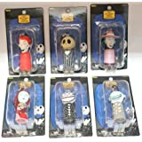NECA NBX Nightmare Before Christmas 6 piece set of Light-up Keychains Jack Sally Lock Shock Barrel Scary Teddy