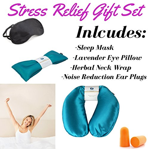 Neck Pain Relief & Lavender Eye Pillow Womens Gift Set - Migraine, Stress & Anxiety Relief - #1 Stress Relief Gifts - Made In The USA,! (Aqua - Silky Satin)