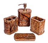 StonKraft Bathroom Set Genuine Natural Multicolor Stone Bathroom Accessories - Toothbrush Docking Container, Soap Dispenser, Toothpaste or Cotton Docking Set and Soap Dish Plate (Dark Brown)