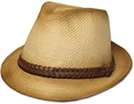 Unisex Structured Ombre 100% Paper Braided Band Fedora Hat