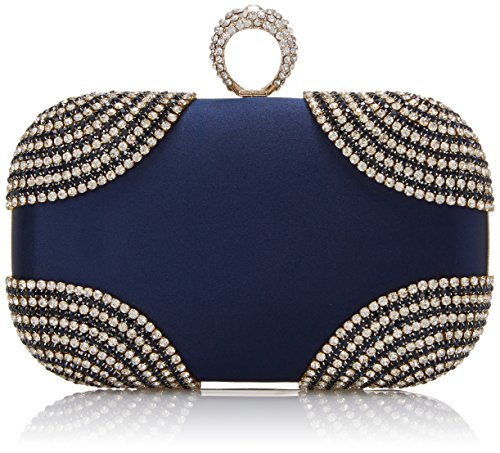 6cce829d65 MG Collection Sabela Velvet Evening Knucklebox Embellished With Rhinestone  Clutch, Navy