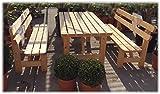 Stabile-Holz-Sitzgruppe-Garten-Garnitur-1-Tisch-2-Bnke