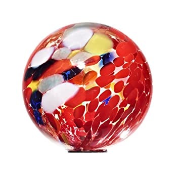 "Ornamental Weather are proud to present the Garden Globe, Roseglobe, Glass Globe ""POINT"", multicolored red, diameter aprox. Ø 13 cm, decorative ornament, spherical, handmade Glass (GardenFlair powered by CRISTALICA)[Garden Globe, Roseglobe]"