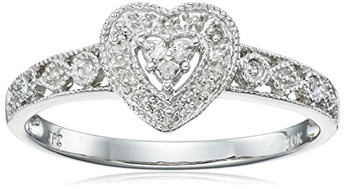 10k White Gold Diamond Heart Ring (0.03 cttw, I-J Color, I2-I3 Clarity), Size 7 (Ring Diamond White Gold compare prices)