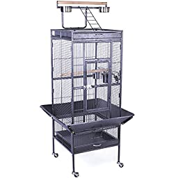 Yaheetech Wrought Iron Parrot Bird Cage Playtop Cockatiel Cockatoo Birdcages (61\