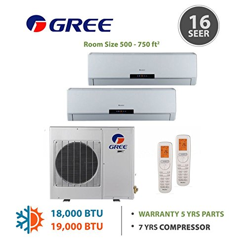 Gree +Multi Dual-Zone Mini Split Ductless Mini-Split 18,000 BTU Inverter Heat 9k 12k (Multi Zone Gree Mini Split compare prices)