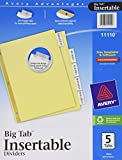 Avery WorkSaver Big Tab Insertable Dividers, 5-Tab, 1 Set, (11110)