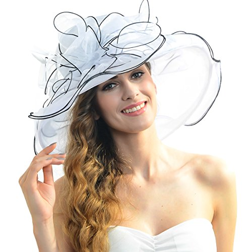 Women Floral Wide Brim Church Derby Kentucky Dress Hat (4