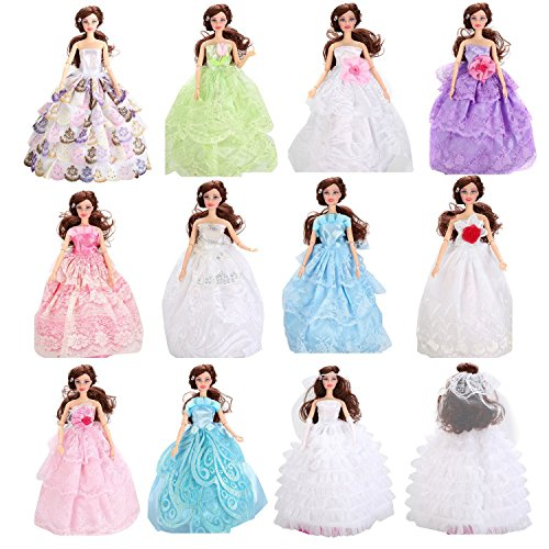 Littlekelly 5 Pcs Fashion Handmade Ball Gowns Wedding Party Dresses Clothes for Barbie Doll