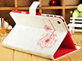Dandelion Folio PU Leather Stand Case Cover Skin for iPad Mini White-Red
