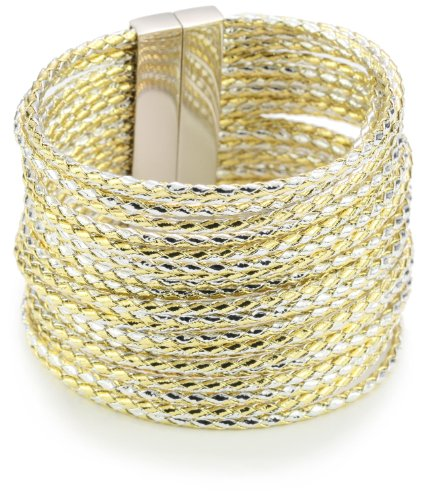 Accessories & Beyond Mix Gold And Braided Leather Strands Cuff