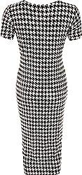 Womens Plus Houndtooth Monochrome Print Short Sleeve Ladies Midi Dress 14-28