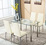 Sets includes 1 dining table and 4 dining chairs. Transform your dining area with this stunning designer dining table, it features a sleek glass design and really a great addition to your dining room . These in soft faux leather upholstered c...