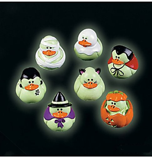 Two Dozen (24) Mini Glow-In-The-Dark Halloween Rubber Ducks Duckie Ducky front-980665