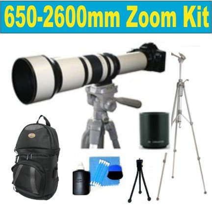"""Celltime High Definition 650-1300Mm F/8-16 T Mount Telephoto Zoom Lens With 2X Teleconverter (=650-2600Mm)+ Deluxe Slr Pro Camera Case + Deluxe 52"""" Camera Tripod With Carrying Case + Celltime 3-Piece Lens Cleaning Kit + Screen Protector For Sony Alpha Dsl"""