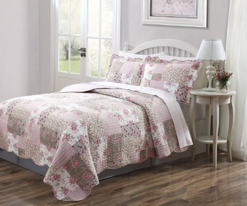 3 Pcs Quilt Bedspread Blanket Cover Dusty Pink And Taupe Floral Design King Size front-1011685