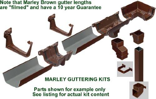 Marley Flowline tutta la casa, colore: bianco-kit per grondaia, casa, fino a 8 m, 7,62 Meters), parte frontale + 8 m, 7,62 Meters posteriore) con 2 set di 2 piani, downpipes