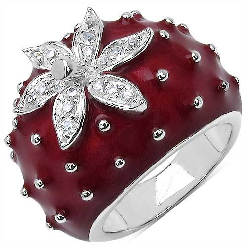 11.60 Grams White Cubic Zircon Red Enamel .925 Sterling Silver Ring