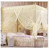 Smart-Fun-4-Ecke-einem-Baldachin-Moskitonetz-Betthimmel-Mckenschutz-Romantik-im-Haus-Single-Doppelbett-Betten-Zubehr-Kein-Rahmen-Beige-Doppelte-Breite-15m