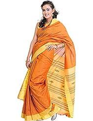 Exotic India Plain Flame-Orange Handloom Sari From Orissa - Orange