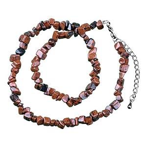 Pugster Genuine Dark Brown Semi Precious Gemstone Nugget Chips Stretch Necklace For Women