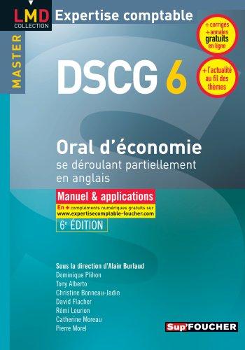 DSCG 6 - Oral d'économie se déroulant partiellement en anglais Manuel et applications 6e édition