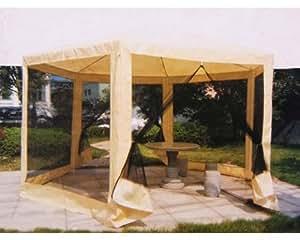 tonnelle hexagonale pliante beige 2x2x2m de jardin avec murs moustiquaires