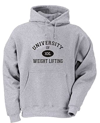 UNIVERSITY OF XXL WEIGHT LIFTING Adult Hoody Sweatshirt ASH GREY SMALL [Apparel]