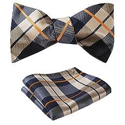 SetSense Men\'s Plaid Jacquard Woven Self Bow Tie Set One Size Navy Blue / Orange