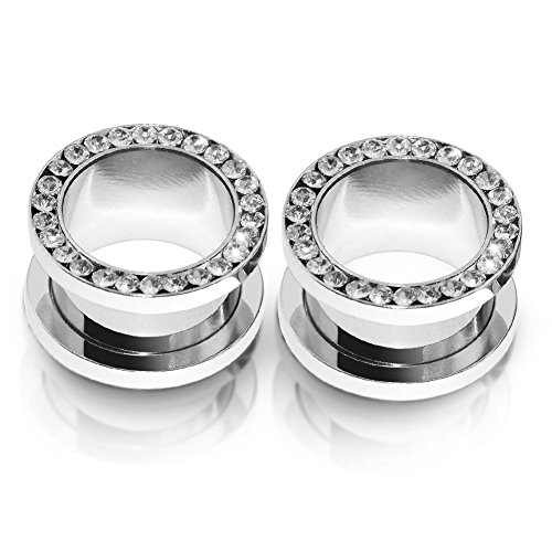 2pcs Stainless Steel White Single Row Gem Screw Flesh Tunnel Ear Plug Expander Stretcher Body Piercing Jewelry 4g(5mm) (4g Gem Plugs compare prices)