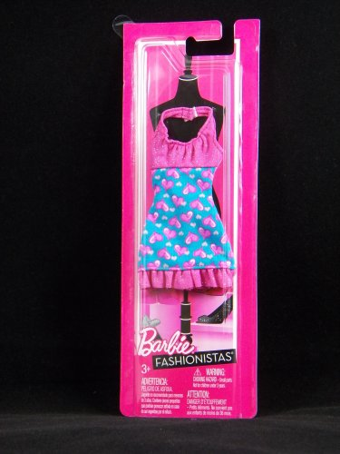 Barbie Fashion Pink & Teal Hearts Halter Dress - 1