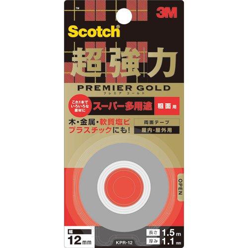 住友スリーエム(3M) スコッチ(R) 超強力両面テープ プレミアゴールド[スーパー多用途]粗面用 12mm×1.5m KPR-12
