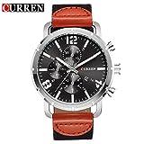 BINZI 革バンドアナログ腕時計 ファッション おしゃれ CU-8194(シルバー&ブラック)メンズ