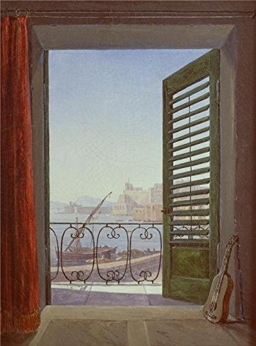 Oil Painting 'Carl Gustav Carus-Balcony Room With A View Of The Bay Of Naples,1829-1830' Printing On Perfect Effect Canvas , 8x11 Inch / 20x27 Cm ,the Best Garage Artwork And Home Decoration And Gifts Is This High Quality Art Decorative Prints On Canvas