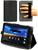 Navitech Black Bicast Leather Stand Case / Cover With Hand Strap For The Vodafone Smart Tab 4 8
