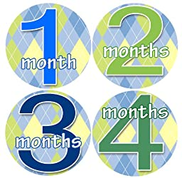 CHECKERED GREEN BLUE Baby Month By Month Stickers - Baby Month Onesie Stickers Baby Shower Gift Photo Shower Stickers