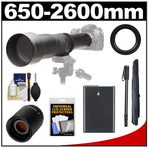 Vivitar 650-1300Mm F/8-16 Telephoto Lens (Black) With 2X Teleconverter (=2600Mm) + En-El14 Battery + Monopod + Accessory Kit For Df, D3100, D3200, D3300, D5100, D5200, D5300 Camera