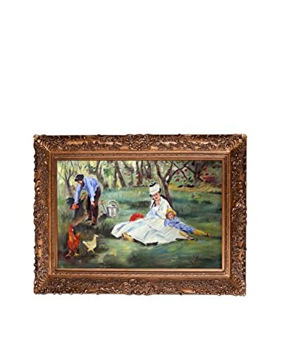 Edouard Manet's The Monet Family In The Garden Framed Hand Painted Oil On Canvas, Multi, 33.5 x 45....