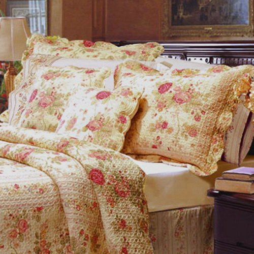 Chic Shabby Romantic Rose Bedding Cotton Quilt Set King Size front-54087
