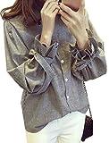 Makalika ストライプ シャツ ブラウス 長袖 レディース トップス バルーン袖 袖口 リボン カジュアル ガーリー 灰色 ( グレー XL サイズ )
